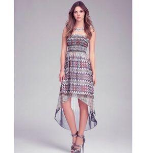 BEBE Strapless High Low Print Maxi Dress
